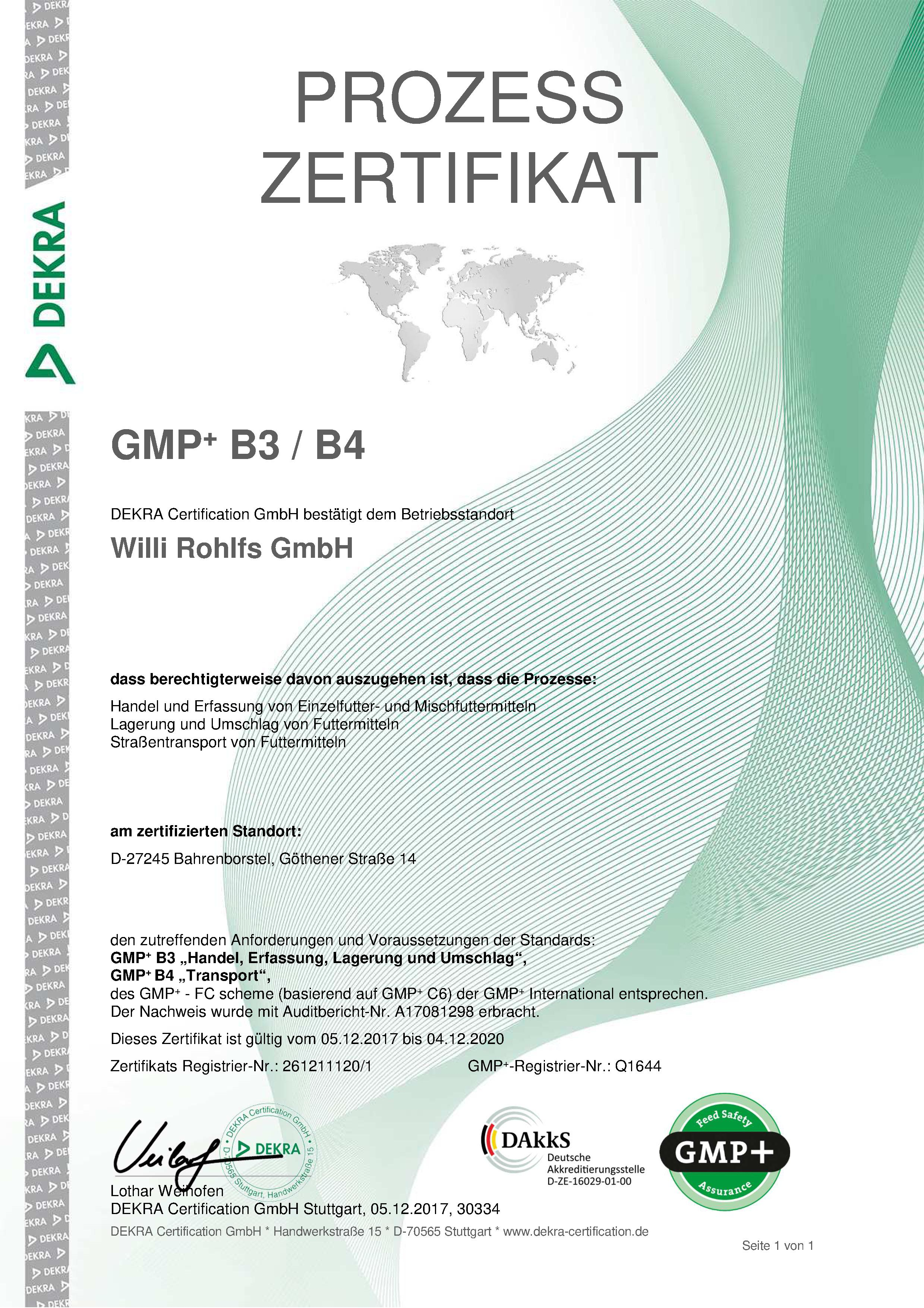 Rezert. Zertifikat GMP B3, B4